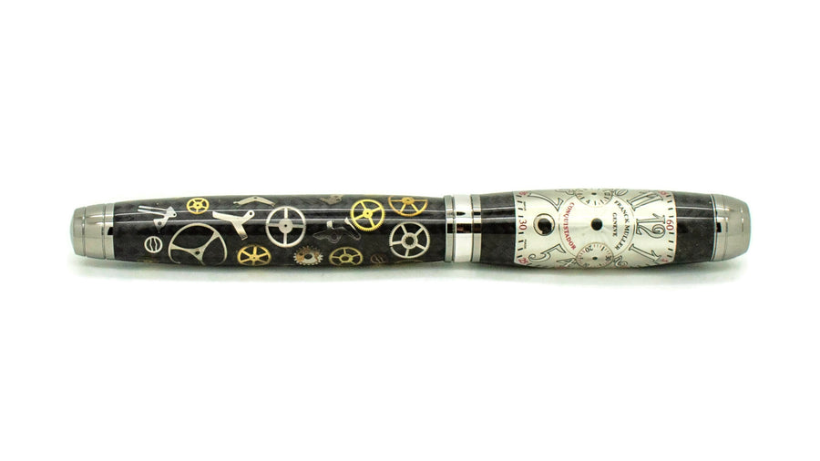 Mistral Rollerball Pen | Carbon Fiber Watch Parts | Franck Muller Dial | Silver | Black Titanium and Rhodium