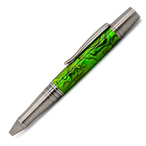 Phoenix Ballpoint Pen |  Lime Green Paua Abalone | Antique Silver