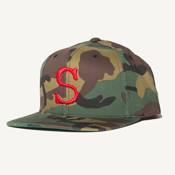 Red S Snapback Hat In Camo - Salty Dames