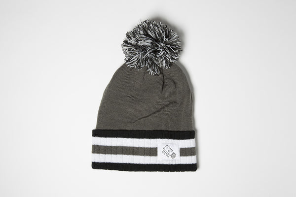 Pom Beanie In Gray/Black - Salty Dames