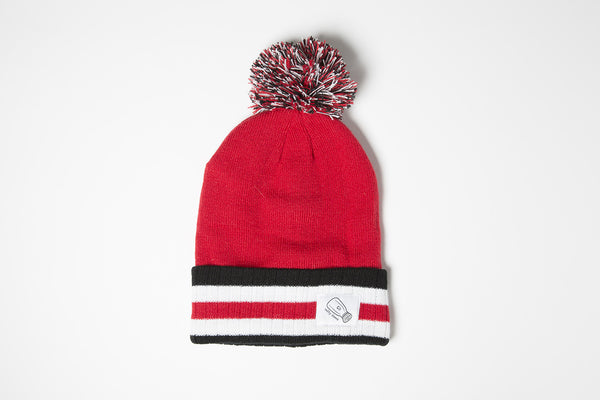Pom Beanie In Red/Black - Salty Dames