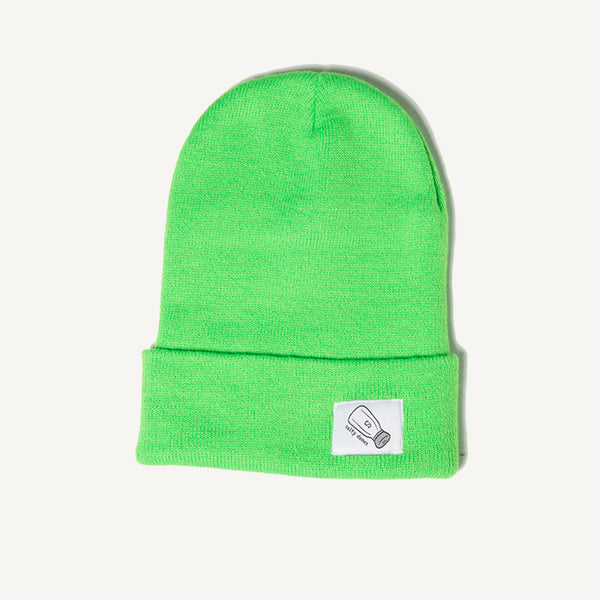 Fold Over Beanie In Lime - Salty Dames