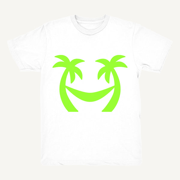 Palm Tree T-Shirt In White & Lime - Salty Dames