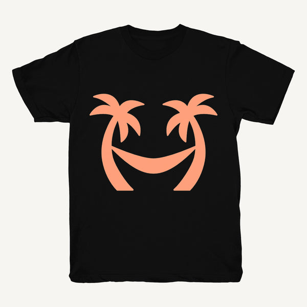 Palm Tree T-Shirt In Black & Peach - Salty Dames