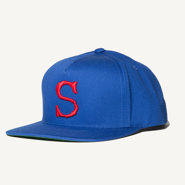 S Snapback Hat In Royal Blue - Salty Dames