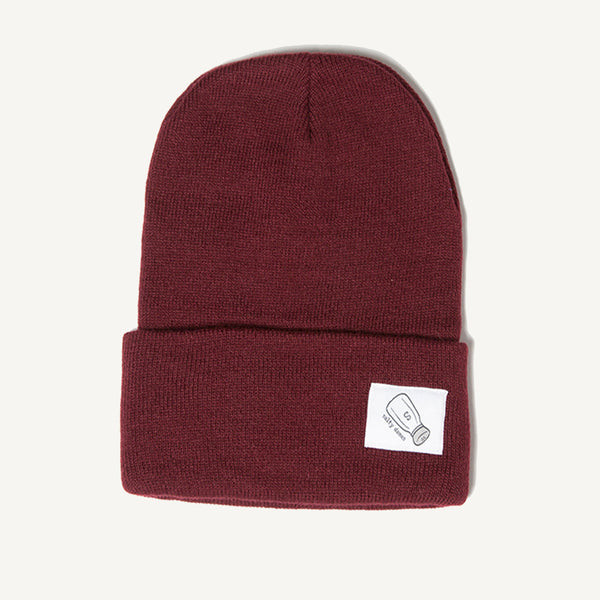 Fold Over Beanie In Burgundy - Salty Dames