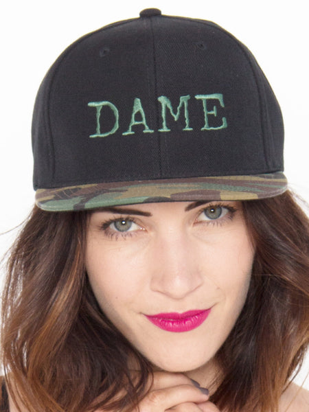 DAME Snapback Hat In Camo & Black - Salty Dames