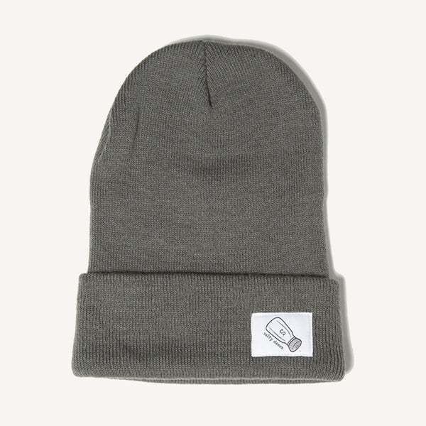 Fold Over Beanie In Dark Gray - Salty Dames