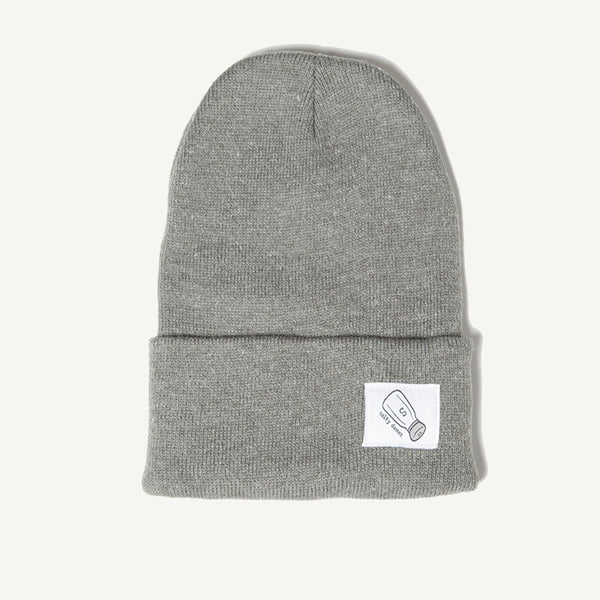 Fold Over Beanie In Gray - Salty Dames