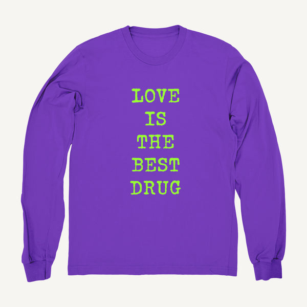 Love Is The Best Drug Sweatshirt In Purple & Lime - Salty Dames