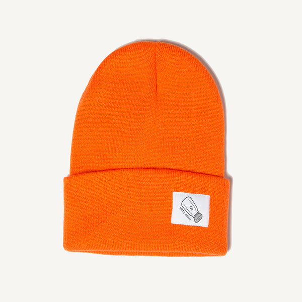 Fold Over Beanie In Bright Orange - Salty Dames