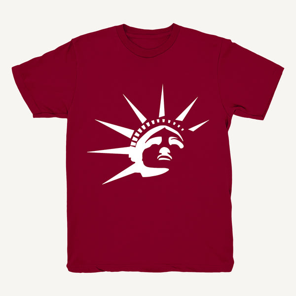 Statue Of Liberty T-Shirt In Burgundy & White - Salty Dames