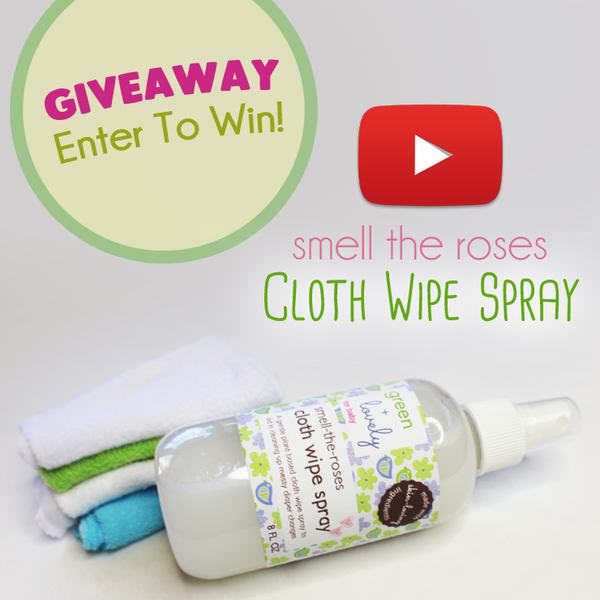 Giveaway and video review of our best selling Smell the Roses Cloth Wipe Spray! Eco friendly and gentle on even newborn skin.