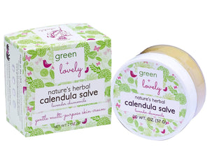 Nature's Herbal Calendula Salve, Lavender Chamomile - Eczema Cream - Multi-use Skin Cream, 2 oz - Green + Lovely