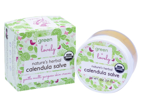 Nature's Herbal Calendula Salve. Multi-use Skin Cream /// Eczema, Cuts, Bruises, Burns. Organic. - Green + Lovely  - 1
