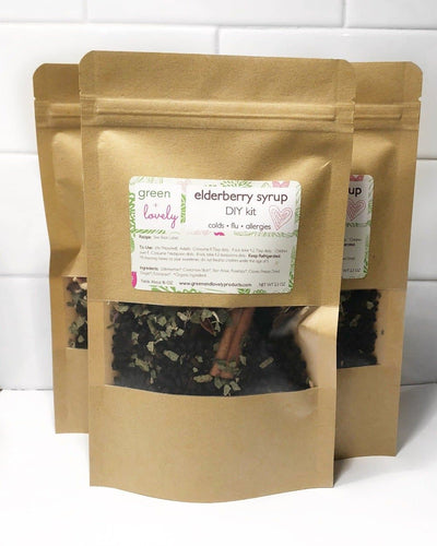 Elderberry DIY Kit - for Colds, Flu, Allergies - Green + Lovely