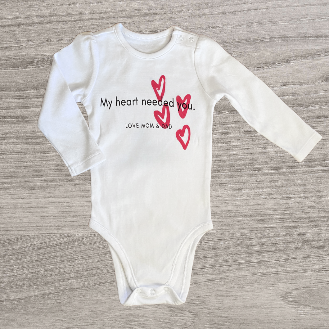 My Heart Needed You Long Sleeved Onesie, Girl /// 0-3 months