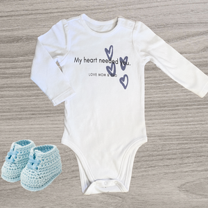 My Heart Needed You Long Sleeved Onesie, Boy /// 0-3 months