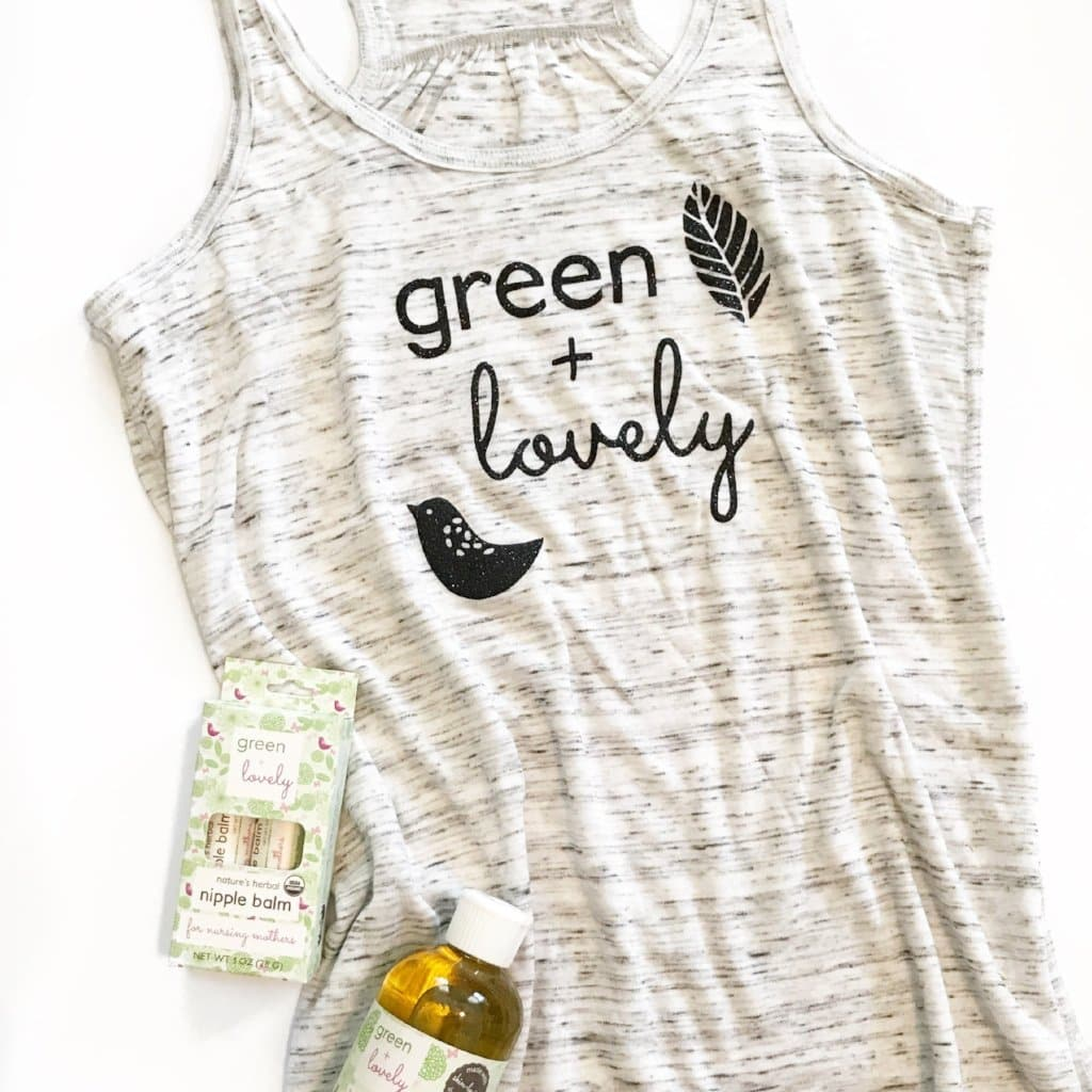 Green + :Lovely Tank - Women's Grey Marble, Super Soft, Relaxed Fit Tshirt - Sizes XS-L
