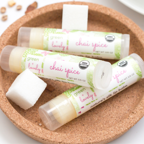 Chai Spice /// Set of 3, Organic Lip Balm Butter for Intense Moisture - Beauty Gift - Green + Lovely