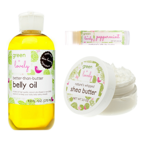 Mommy to Be Green Gift Set. Belly Oil, Shea Butter, and Lip Balm. Organic Ingredients. Luxurious. - Green + Lovely