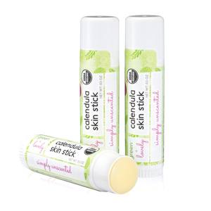 Simply Unscented Calendula Skin Stick - Organic Lotion Stick - Travel Size - Green + Lovely