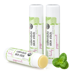 Peppermint Calendula Skin Stick - Organic Lotion Moisture Stick - Travel Size - Green + Lovely