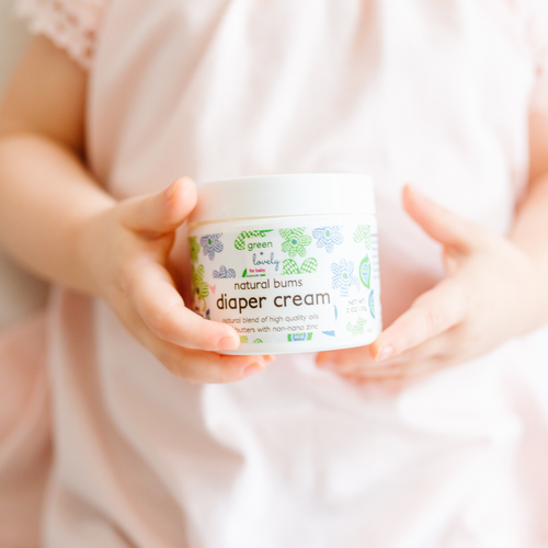 Natural Bums Diaper Rash Cream - Effective Natural Diaper Cream - 2 oz. - Green + Lovely