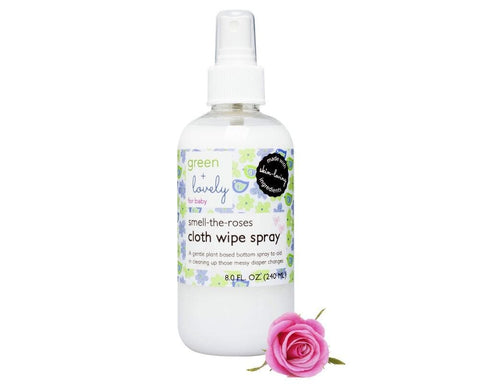 Smell the Roses Cloth Wipe Spray. Bottom Spray. Cloth Diaper Safe Solution. Rose Water Infused. Organic, Plant Based Ingredients. - Green + Lovely  - 1