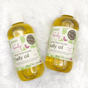Better than Butter Belly Oil Bundle - 2 pack Bundle (Unscented) - Stretch Mark Prevention - Green + Lovely