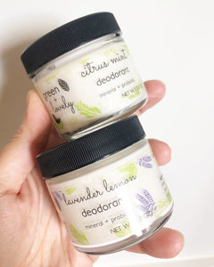 DEODORANT Citrus Mint - Mineral + Probiotic - Vegan - Green + Lovely