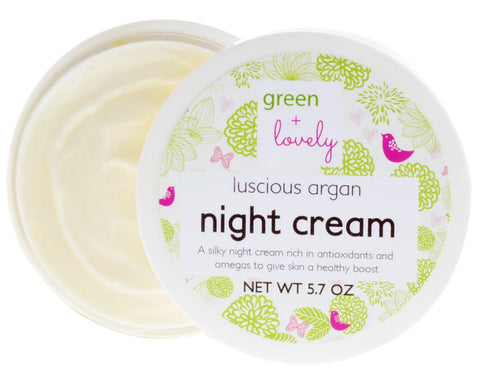 Luscious Argan Night Cream. Rich in Antioxidants and Omegas. Chemical Free Night-time Moisturizer. Certified organic ingredients. Healing. - Green + Lovely  - 1
