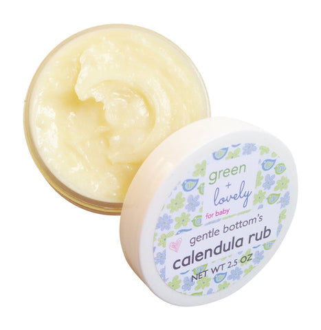 Gentle Bottom's Calendula Rub. Cloth Safe Diaper Rash Cream. Organic. Herbal infused Organic Coconut oil, Shea, & Aloe. Cloth Diapering. - Green + Lovely