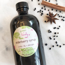 Load image into Gallery viewer, Elderberry Syrup with Echinacea - Herbal Syrup for Colds, Flu, Allergies - Green + Lovely