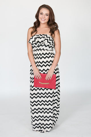 Jagged Black/White Chevron Peplum Maxi