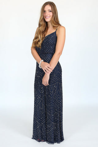 Long Blouson Dress in Navy