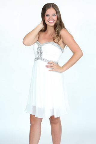 Beaded Short Chiffon Dress