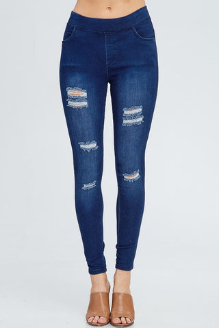 The Distressed Jeggings 2.0-Light and Medium