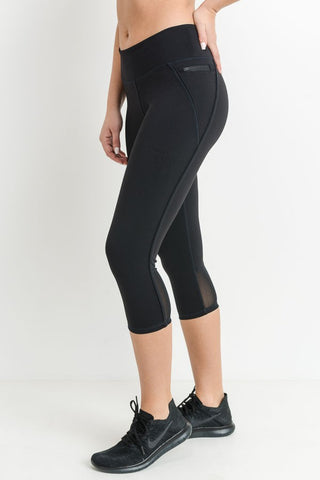 The Black Capri Mesh Leggings