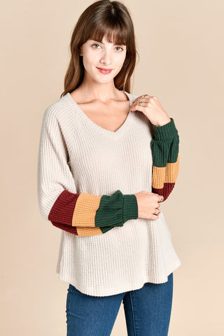 The Colorblock Sleeve Cream Top
