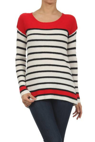 Red Raider Striped Sweater