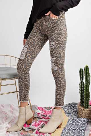 Brown Animal Print Skinnies