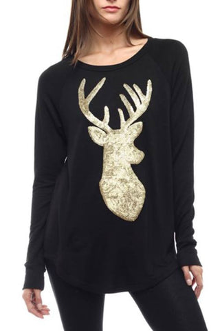 Rockin Reindeer Top-Black
