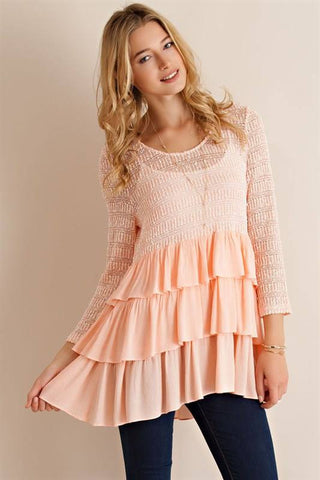 Presley's Ruffle Top in Peach