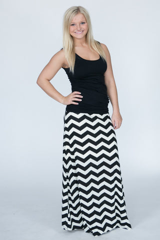 Black and Cream Chevron Maxi Skirt