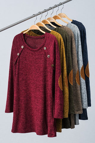 The Button Patch Tunic-5 Colors