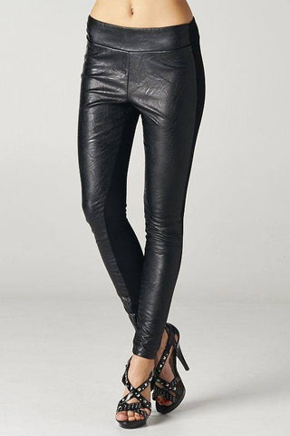 Black Leather Front Leggings