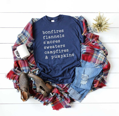 The I Love Fall Tee in Navy