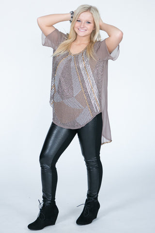 Metal  Stud Taupe Top