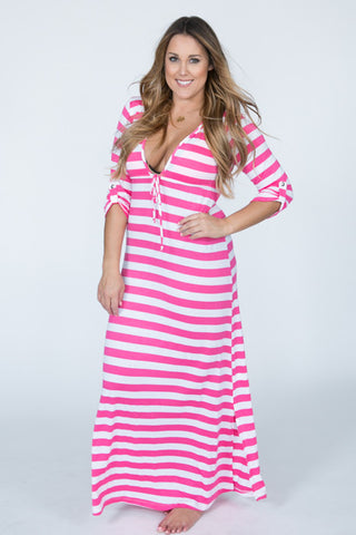 Lucy Love Magenta Striped Hoodie Maxi